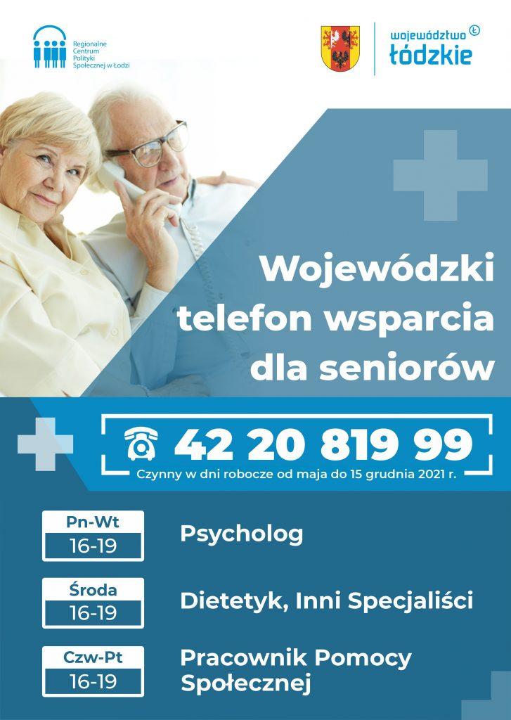 plakat wojewódki telefon wsparcia dla seniorów 422081999
